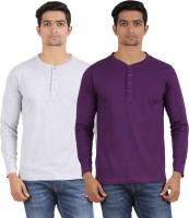 Arowana Solid Men's Henley Grey, Purple T-Shirt(Pack of 2)
