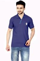 Gumality Solid Mens Polo Neck Dark Blue T-Shirt