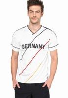 T10 Sports Printed Mens V-neck White T-Shirt