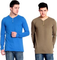 Lemon & Vodka Solid Mens Henley Blue, Brown T-Shirt(Pack of 2)