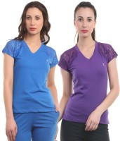 Ultra Fit Solid Women's V-neck Purple, Blue T-Shirt(Pack of 2)