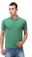 Lime Fashion Solid Men Polo Neck Green T-Shirt