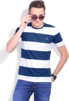 United Colors of Benetton. Striped Men's Round Neck White, Blue T-Shirt