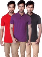 LUCfashion Solid Mens Polo Neck Red, Purple, Black T-Shirt(Pack of 3)