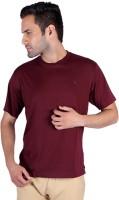 Humbert Solid Mens Round Neck Maroon T-Shirt