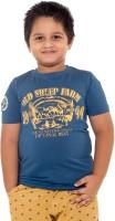 Menthol Boys Printed Cotton T Shirt(Dark Blue, Pack of 1)