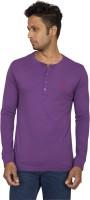 Red Line Solid Men Henley Purple T-Shirt