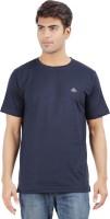 Crystal Solid Men's Round Neck Dark Blue T-Shirt
