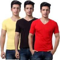 TeeMoods Solid Mens V-neck Brown, Red, Yellow T-Shirt(Pack of 3)
