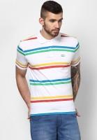 Ajile by Pantaloons Striped Men's Polo Neck White T-Shirt