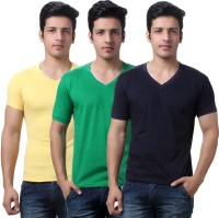 TeeMoods Solid Mens V-neck Yellow, Green, Dark Blue T-Shirt(Pack of 3)