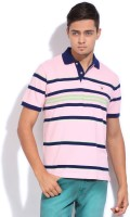 Gant Striped Mens Polo Neck Pink T-Shirt