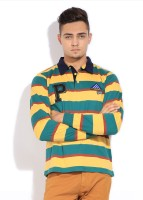 People Striped Mens Polo Neck Yellow, Green T-Shirt