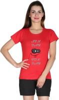 Faireno Printed Womens Round Neck Red T-Shirt
