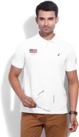Nautica Solid Men's Polo Neck White T-Shirt