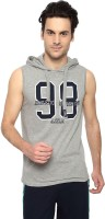 Ajile by Pantaloons Solid Men's Hooded Grey T-Shirt