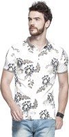 Tinted Floral Print Mens Henley White T-Shirt