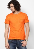 Camino Solid Mens Round Neck Orange T-Shirt