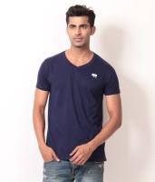 Londoner Solid Men's V-neck Dark Blue T-Shirt