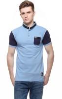 Fasnoya Solid Men's Mandarin Collar Light Blue T-Shirt