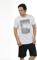 Puma Graphic Print Men's Round Neck White T-Shirt