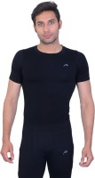 Proline Solid Men's Round Neck Black T-Shirt