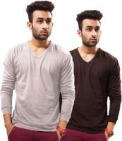 Unisopent Designs Solid Mens V-neck Grey, Brown T-Shirt(Pack of 2)