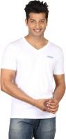 Poshuis Solid Men V-neck White T-Shirt