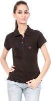 Texco Printed Womens Polo Neck Green T-Shirt