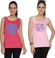 SayItLoud Printed Women's Scoop Neck Pink, Pink T-Shirt(Pack of 2)