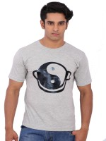 Rat Trap Printed Men Round Neck Grey T-Shirt