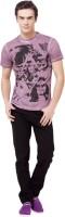 Monteil and Munero Printed Mens Round Neck Purple T-Shirt
