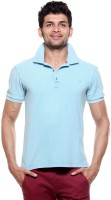 Tog Solid Men's Polo Neck Blue T-Shirt