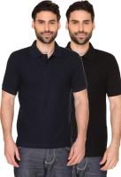 Blacksmith Solid Men's Polo Neck Dark Blue, Black T-Shirt(Pack of 2)