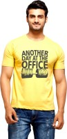 Nihaal Printed Men's Round Neck Yellow T-Shirt