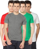 TOMO Solid Mens Round Neck Grey, Green, Red, White T-Shirt(Pack of 4)