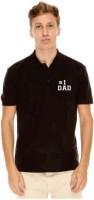 Giftsmate Printed Men's Polo Neck Black T-Shirt