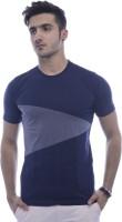 Urban Flux Solid Men Round Neck Blue T-Shirt
