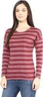 Hypernation Striped Womens Round Neck Maroon T-Shirt