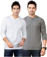 Top Notch Solid Mens Henley White, Grey T-Shirt(Pack of 2)