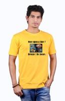Heritage Design Printed Mens Round Neck Yellow T-Shirt