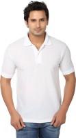 AWA Solid Men Polo Neck White T-Shirt