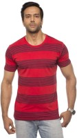 Cult Fiction Striped Mens Round Neck Red T-Shirt