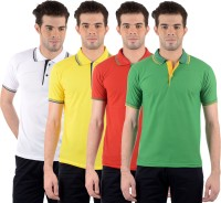 Gdivine Self Design Mens Polo Neck White, Yellow, Red, Green T-Shirt(Pack of 4)