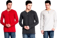 Lemon & Vodka Solid Mens Henley Multicolor T-Shirt(Pack of 3)