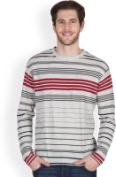 Hypernation Striped Men's Round Neck Black, Grey, Red T-Shirt