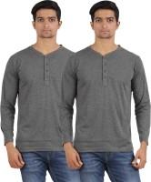 Arowana Solid Men's Henley Grey, Grey T-Shirt(Pack of 2)