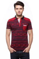 Fasnoya Printed Men's Polo Neck Red T-Shirt