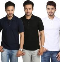 Weardo Solid Mens Polo Neck Black, Blue, White T-Shirt(Pack of 3)