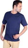 Humbert Solid Mens Round Neck Dark Blue T-Shirt
